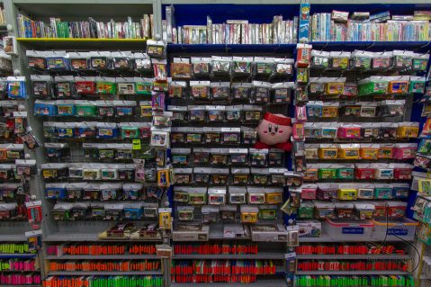 A small store in Akihabara, Tokyo, Japan houses countless console game cartridges.