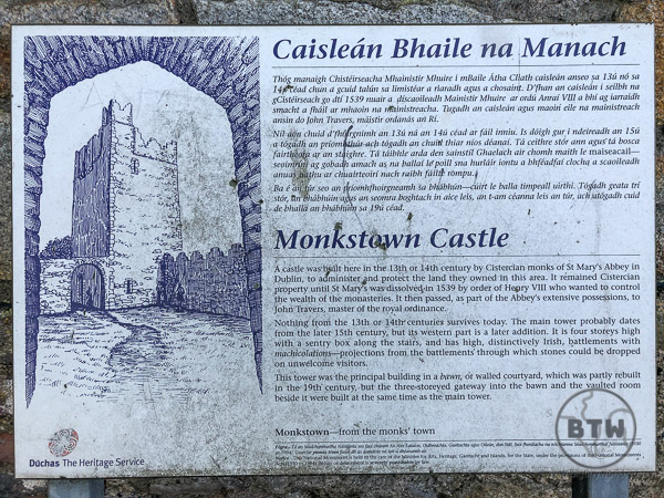 Monkstown Castle sign in English and Irish