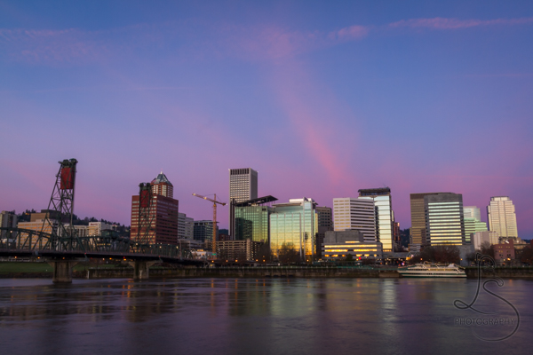 The Portland skyline from across the river at sunrise | BIGtinyWorld Travel