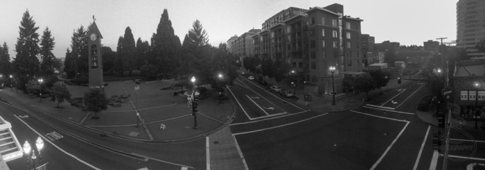 Monochrome panorama of downtown Vancouver, Washington | BIGtinyWorld Travel