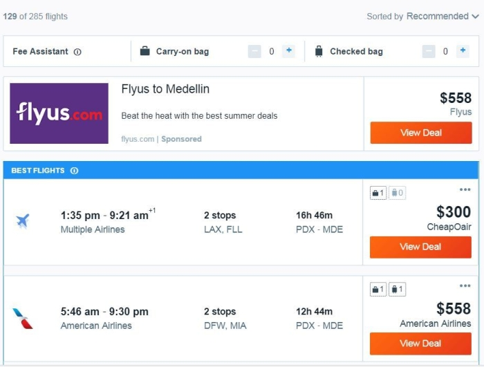 Kayak.com Flight Info
