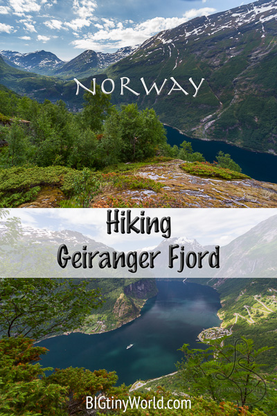 Norway: Geiranger Fjord - Hiking Along Beautiful | BIGtinyWorld Travel | We explored many beautiful places in Norway. Geiranger Fjord was only one spectacular place! We skipped the expensive cruise and still got incredible views free of cost. Read our adventure here! | #Norway #GeirangerFjord #fjord #scenic #travel #travelblog #internationaltravel #travelcouple