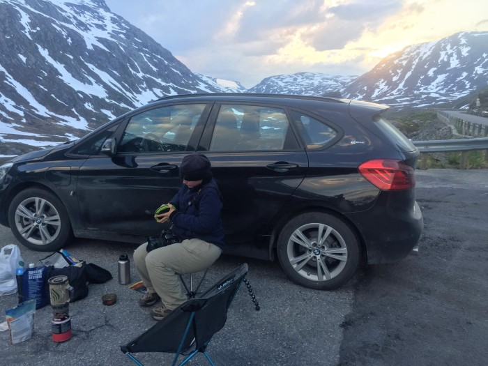 Norway Camping Dinner on Road