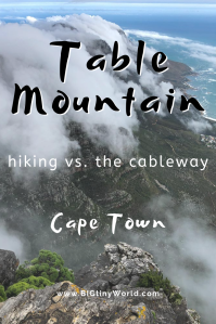 Table Mountain - Hiking vs. The Cableway | BIG tiny World Travel | We had the opportunity to both hike and take the cableway to the top of Table Mountain in Cape Town, South Africa. Click here to see our comparison of the two and which we prefer! | #coupletravel #tablemountain #shadeadventures #capetown #southafrica