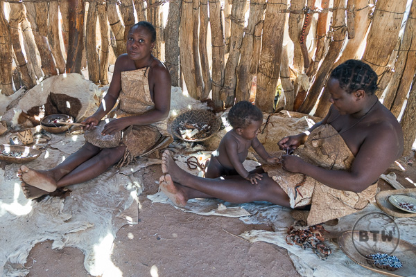 Damara women making crafts