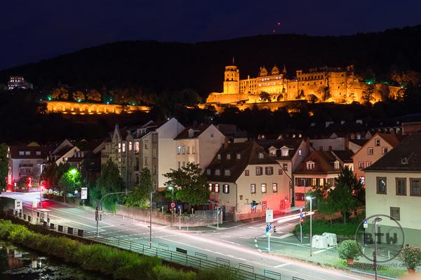 Heidelberg Castle Night from Old Bridge