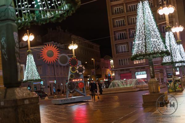 Rijeka Croatia Square with Christmas Lights