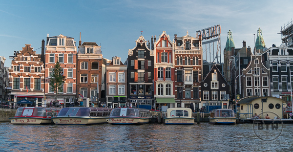View of Canal in Amsterdam Netherlands Holland