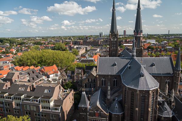 VIew from top of Nieuwe Kerk (New Church) Delft Netherlands Holland